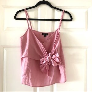 Light pink topshop tank top with bow detail